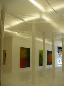 Installation at The Hole, with Zane Lewis's paintings