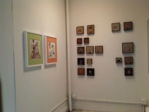 Straight on: small paintings by Donna Festa; left: mixed-media etchings by Sahana Ramakrishnan